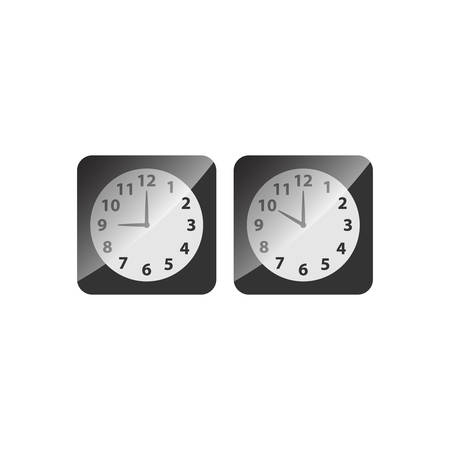 Alarm analog clock black square icon set. Clock with nine and ten o clock, black glossy vector.