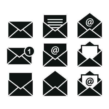 Mail, open and closed letter, email symbol set of icons. Envelope, mail black vector icon set.