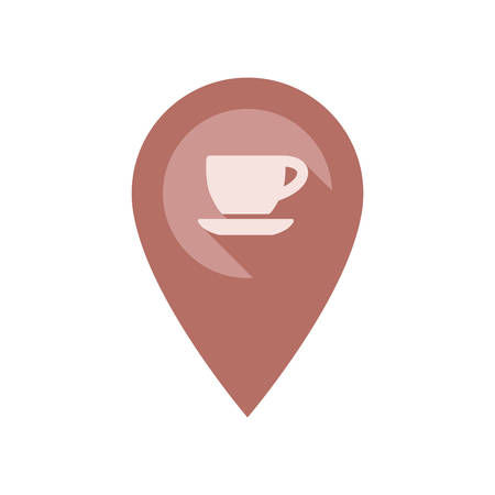 Location pin pointer with coffee cupk vector icon. Location marker for cafe with long shadow effect.
