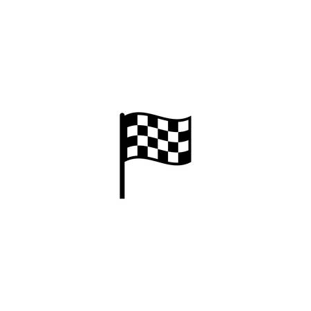 Race flag checkered black and white simple vector icon. Start and finish race flag symbol.