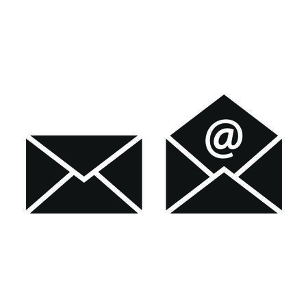 Mail, letter open and closed email sign with at symbol. Envelope black vector icon set. Vettoriali