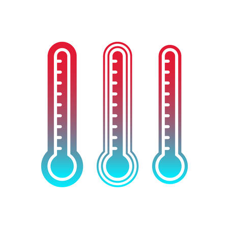 Thermometer with scale, cold and hot temperature indicator. Thermometer blue and red gradient isolated vector icon set. Векторная Иллюстрация