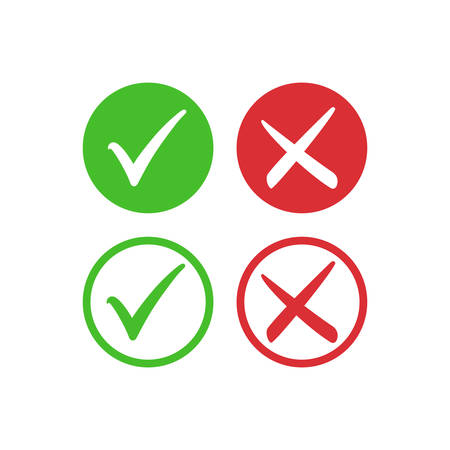Tick symbol set in red and green circle, checkmark in checkbox vector icons. Yes and no, right and wrong tick check mark with round check box symbols. Vector Illustratie