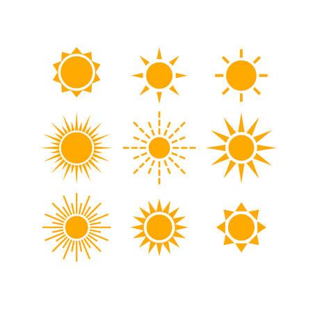 Sun and sunrays various vector icon set.