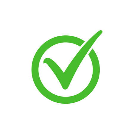 Tick symbol in green circle, checkmark in checkbox vector icon. Yes, right or ok tick check mark with round check box symbol.