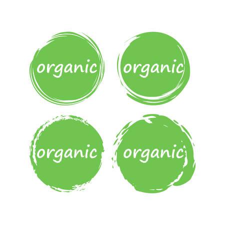 Organic food or product vector stamp. Circle dry brush organic label.