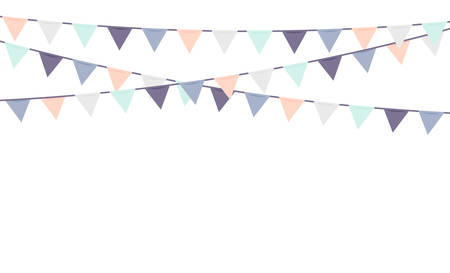 Bunting flags party decoration in pastel colors. Colorful vector. Stock Illustratie