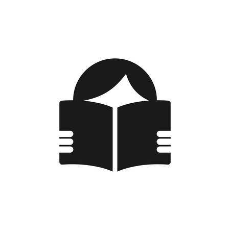 Person reading open book simple vector icon. Read the manual or the instructions vector symbol.
