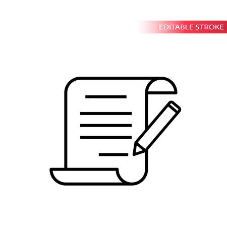 Paper scroll document with pencil signing. Thin line, editable stroke vector.