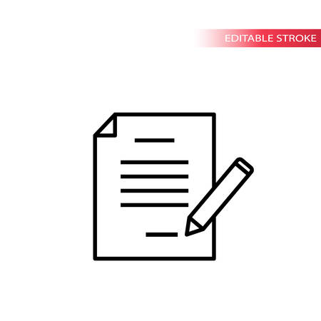 Paper document with pencil signing. Thin line, editable stroke vector.
