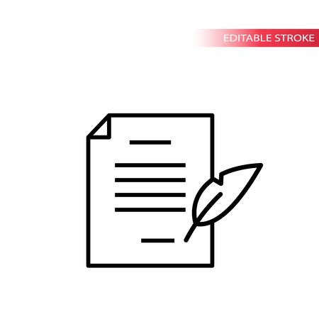 Paper document with quill pen signing. Thin line, editable stroke vector.