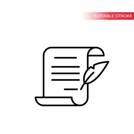 Paper scroll document with quill pen signing. Thin line, editable stroke vector.