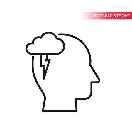 Human head profile with cloud and lighting bolt. Brainstorming concept, thin line vector icon.