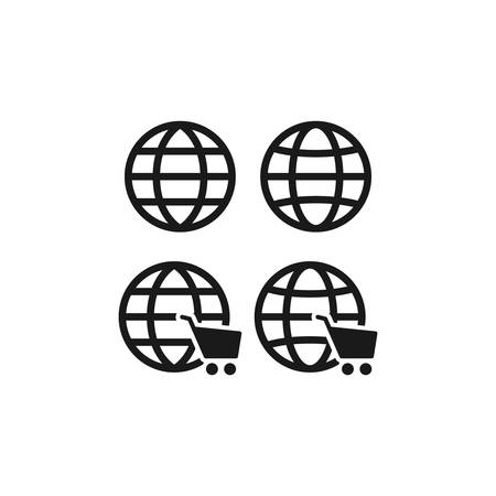 Globe, website symbol with shopping cart icon. Black vector glyph sign.