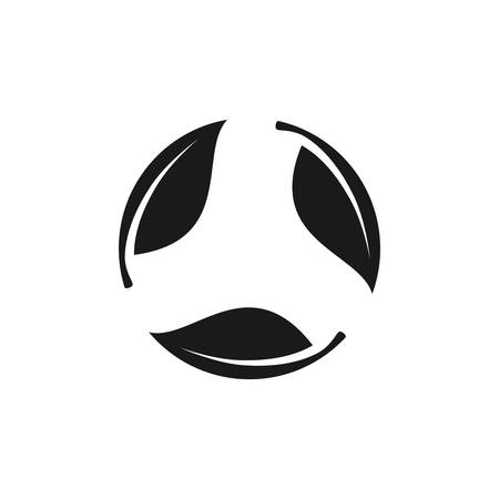 Leaves circle, eco concept black vector icon. Leaf cycle glyph symbol.