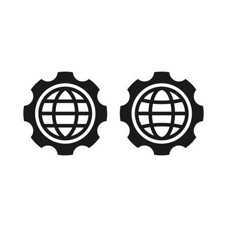 Globe, website symbol with gear or cogwheel icon. Black vector glyph sign. Stock Illustratie