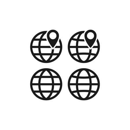 Globe, website symbol with location pin icon. Black vector glyph sign. Stock Illustratie