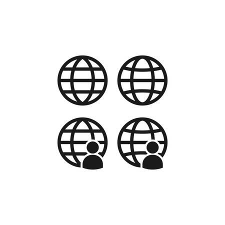 Globe, website symbol with person, profile icon. Black vector glyph sign.