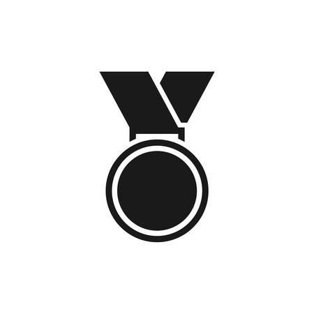 Medal, winner award simple black vector icon. Glyph pictogram. Stock Illustratie