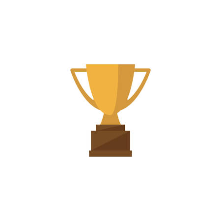 Cup trophy golden cartoon isolated vector icon. Champion award colorful symbol.