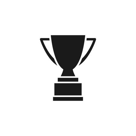 Cup trophy black isolated vector icon. Champion award glyph symbol.