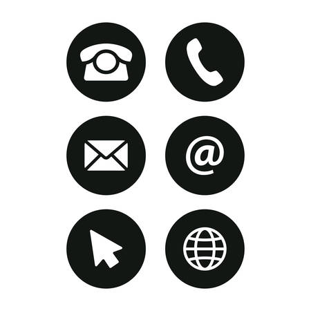 Contact round buttons black vector icons. Phone, website and email symbols.