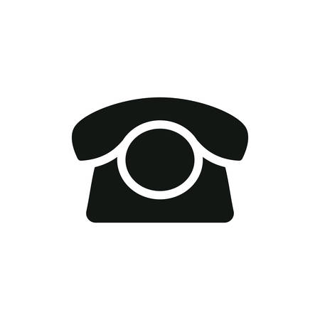Old telephone, contact button black isolated vector icon. Retro phone symbol.