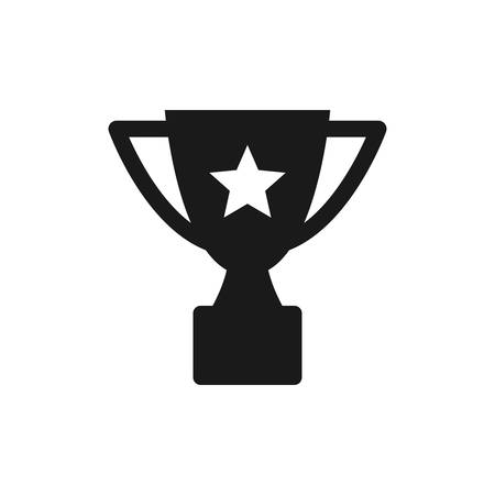Champion cup with star black isolated vector icon. Trophy award glyph symbol.