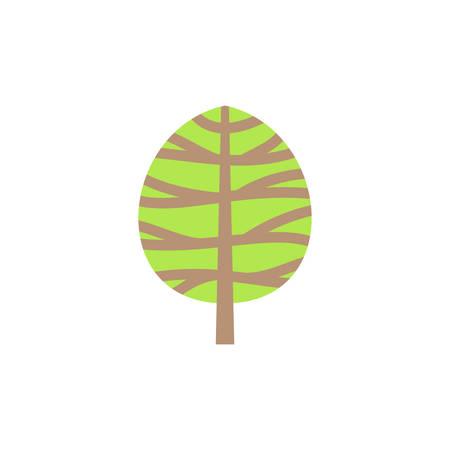 Green tree colorful vector cartoon icon.