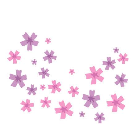 Pink and violet spring or summer flower set. Colorful vector flowers cartoon for decoration. Stock Illustratie