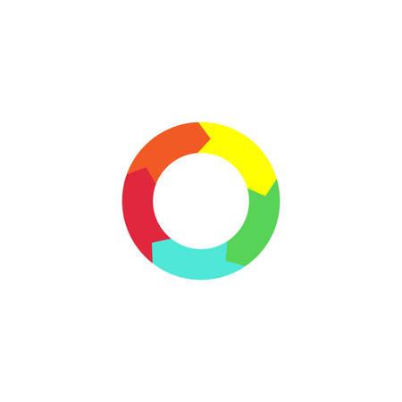 Circle arrow simple colorful vector icon. Circular arrows infographic diagram. Stock Illustratie