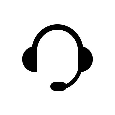 Call center operator headphones and microphone simple black isolated vector icon. Stock Illustratie