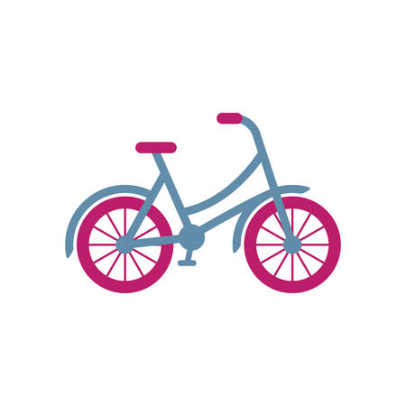 Colorful retro bicycle girl style illustration. Old vintage bike in color vector icon.