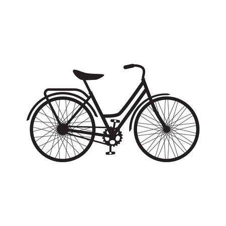 Retro bicycle black isolated vector icon. Old bike, vintage style illustration.