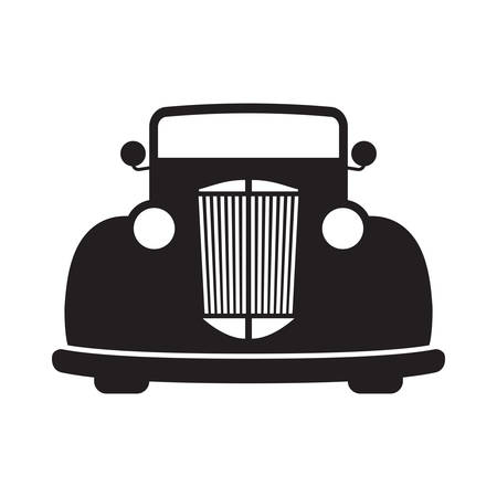 Retro car black isolated vector illustration. Old, vintage style automobile.