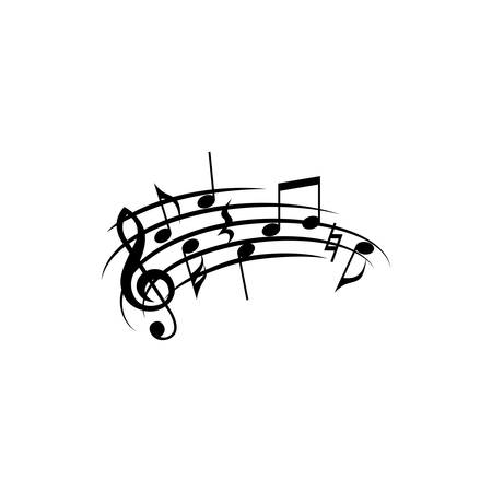 Music notes with curved or swirled staff.