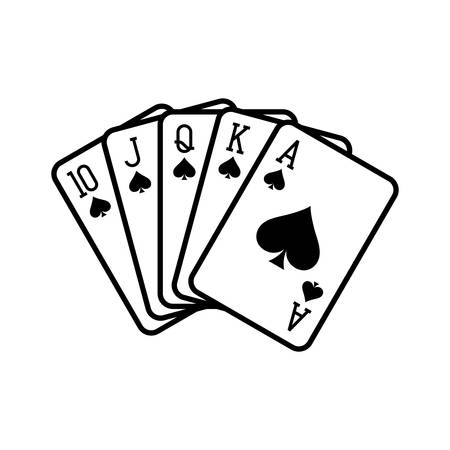 Royal flush of spades, playing cards deck colorful illustration. Poker cards, jack, queen, king and ace vector.