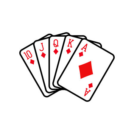 Royal flush of diamonds, playing cards deck colorful illustration. Poker cards, jack, queen, king and ace vector.