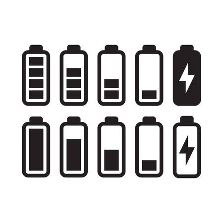 Battery empty and full with a lightning bolt charge symbol. Black isolated simple battery vector icon set.