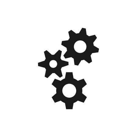 Gear or cogwheel simple black vector icon set. Cog wheels mechanism concept web symbol.