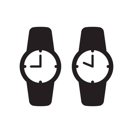 Wrist watch or clock simple black isolated vector icon. Wristwatch analog nine and ten o'clock glyph symbol. Иллюстрация