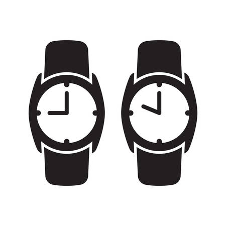 Wrist watch or clock simple black isolated vector icon. Wristwatch analog nine and ten oclock glyph symbol.