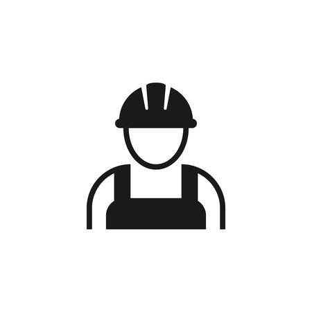 Worker with hardhat or helmet, construction builder black vector icon. Workman employee contractor symbol.