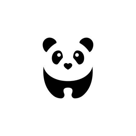 Cute panda black and white vector cartoon. Panda with heart nose character.