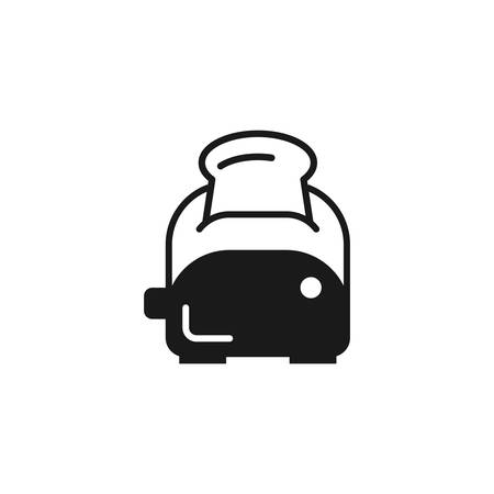 Toaster with bread black vector icon. Kitchen appliance, electric toaster simple glyph symbol.