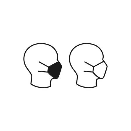 Medical mask on human head profile black isolated vector icon. Stock Illustratie