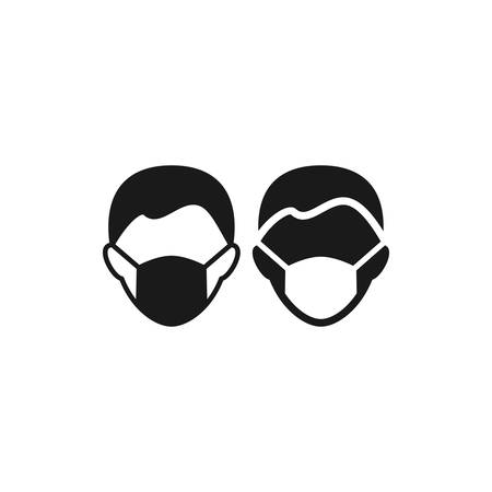 Medical mask on human head black isolated vector icon. Mask on man`s face symbol.