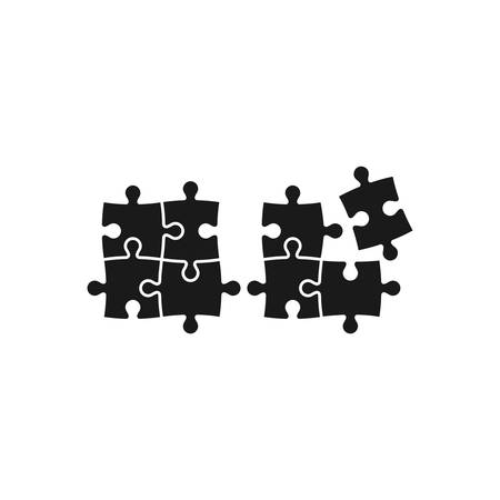 Puzzle, jigsaw tiling four puzzle pieces simple black glyph vector icon in green.