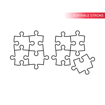 Puzzle, jigsaw tiling four puzzle pieces thin line vector icon. Editable stroke.