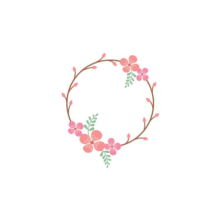 Floral circle colorful vector frame. Spring blossom, flower vintage decoration frame template with branches and leaves.